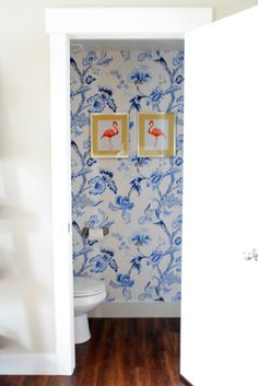 flamingos in the powder room