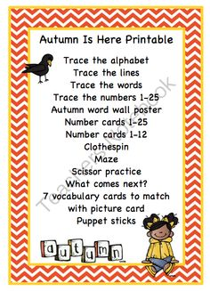 Autumn is Here Printable from Preschool Printables on TeachersNotebook.com -  (20 pages)  - Printable: The activities in this pack are designed to have fun while the child learns a variety of preschool concepts including number, color, patterns, sequence, size, letters and more