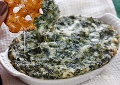 Hot Spinach Dip #spinach #dip #appetizer #superbowl #light