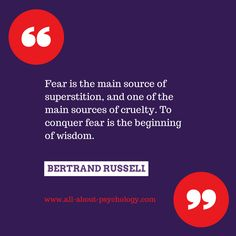 Quote on superstition and fear by Bertrand Russell. #BertrandRussell #superstition #wisdom