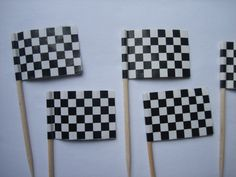 Nascar Car Racing Checkered Black & White Flag Baking Birthday Wedding Baby Shower Cupcake Toppers, Party Picks, Tootpicks (QTY 24). $3.50, via Etsy.