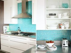 kitchen white cabinets stainless steel counter bright aqua tile back splash