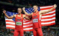 Gold medalist Ashton Eaton and silver medalist Trey Hardee pose for pictures at Olympic Stadium in London.    #greatestathletes, #olympics, #london2012