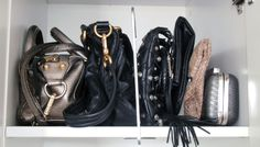Use shelf dividers to bags upright on your shelves #purseorganization #closet #storage