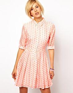 ASOS Shirt Dress In Fluoro Jacquard Spot