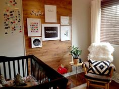 Modern and Rustic Nursery with Wood Accent Wall - Project Nursery