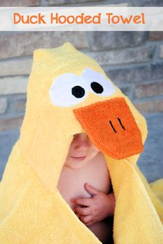 Adorable ! DIY::Duck Hooded Towel Tutorial - Crazy Little Projects