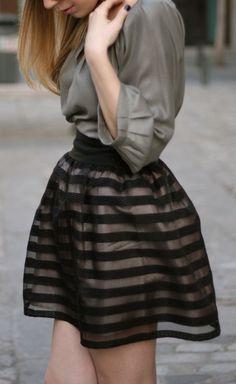 Sheer stripe skirt