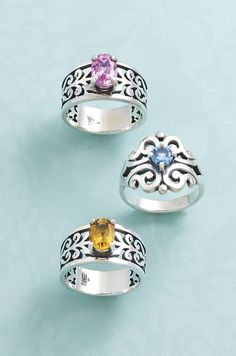 Adoree Rings with Pink Tourmaline & Citrine and Spanish Lace Ring with Blue Topaz #jamesavery #rings