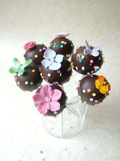 Chocolate Fondant Covered Butterfly and Flower Cake Pops