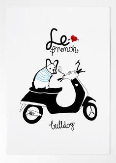 FRENCH BULLDOG - $20.00, via Etsy.  Limited Edition French Bulldog Tee