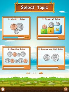 An app for practicing money skills.  From identifying coins to making change.