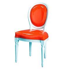 Louis Chair-Camilla House-white lacquer finish-dark orange pvc upholstery