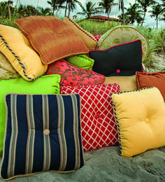 Throw Pillows for outdoor use. Available in a multitude of fabrics, trims, patterns, colors and sizes!