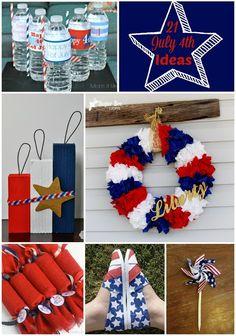 21 amazing ideas for July 4th #crafts #diy #july4th #redwhiteblue