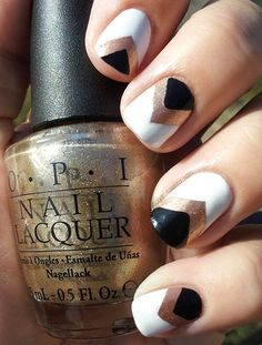 Nothing makes an impact like a simple design in black, white and gold. Try this nail art for your next big night out or during spring break.