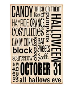 Take a look at this Vinyl Crafts Cream & Black Halloween Subway Wood Plaque by Haunted House: Decorations on #zulily today!