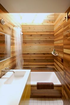wood trim, swimming pools, idea, spare bathroom, the loft, small baths, small houses, wood walls, tiny bathrooms