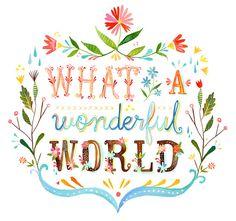 wonderful world, kitchen wall art, whimsical quotes, life, wonderful things, etsy prints, inspir, beauti, kati daisi