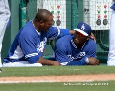 Uribe and Puig - Friends Forever, pic via Jon SooHoo/LA Dodgers 2014