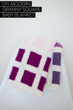 DIY Modern Colorblocked Granny Square Baby Blanket | Via Live Modernly | 01