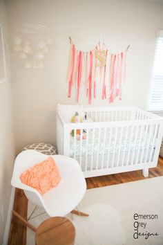 Project Nursery - coral and teal nursery less pink but love the crib sheet