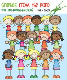 Stick Kids Feelings Emotions - Clipart for Teaching