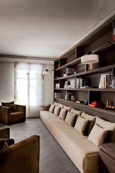 Stylish Living Room Interior Design   Dining// interior, living rooms, couch, floor, paris apartments, basement, bookcas, librari, shelv