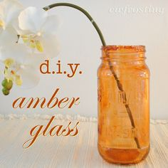 DIY Amber Glass (made with Mod Podge and ink dye). Brilliant! Also - try this with cobalt blue for blue glass jars - and, color our mini glass bottles, message in a bottle charms.