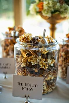 Hotsy-Totsy popcorn by Brown Egg Bakery. Wedding by Gibson Events. Photo by Josh McCullock Photography. #wedding #popcornbar #popcorn #sweettreat