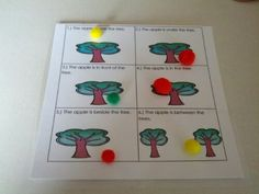 Apple Positional Words Activity (from Teaching Heart Blog)