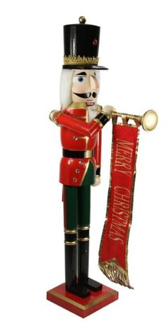 """36"""" Decorative Red and Green Wooden Christmas Nutcracker Soldier with Banner $89.99 (22% OFF)"""