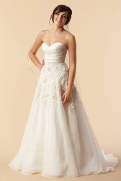 A-line sleeveless organza floor-length bridal gown. (just add sleeves)