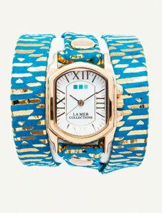 Teal Egyptian Print Chateau Wrap Watch