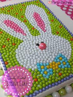 bunny cake, easter cake, sixlets candy cake, easter party ideas, easter dessert ideas, easter candy, SweetWorks candy