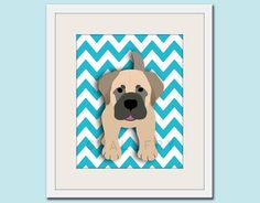 The Dog Series by WallFry now comes on Chevron stripes!