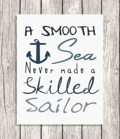 INSTANT DOWNLOAD A Smooth Sea Quote Typography  by PatiHomeDecor, $7.50