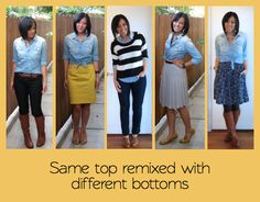 The Importance of Colored Bottoms (and more cute ways to wear a chambray shirt!)