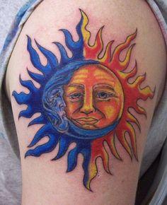 Moon-Sun Tattoo On Shoulder