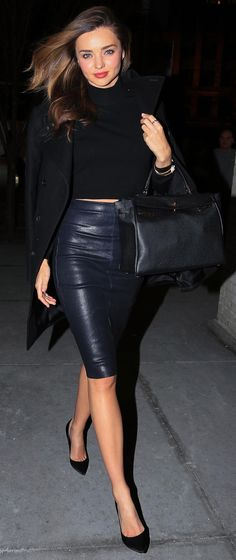 Miranda Kerr, killing it in all black and a leather pencil skirt