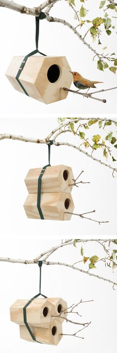 Handmade modular bird house birds nest #product_design birdhouses, bird nests, andreucarulla, garden, birds, andreu carulla, design, neighbird, bird hous