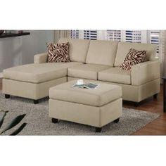 3 pcs Sectional Sofa Set with Ottoman and Accent Pillows in Mushroom
