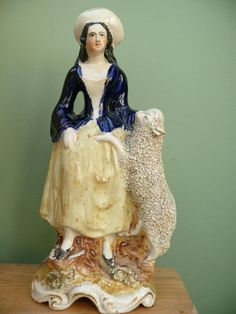 SUPERB 19thc STAFFORDSHIRE FEMALE FIGURE WITH SHEEP | eBay