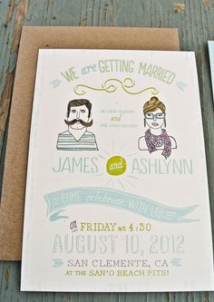 Rustic Wedding Invitation: Custom Illustrated Invite , Bohemian Style