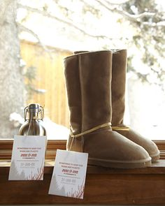 wedding parties, wedding favors, wist countri, countri uggboot, winter boots