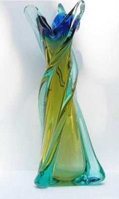 Vintage Blown Art Glass Four Color Vase