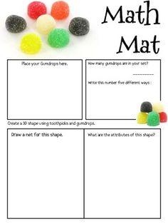 Math Mat Review Activity: Gumdrops