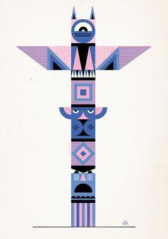 Geometric Totem Framed Art Print by Jesse Lefkowitz | Society6