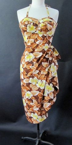 Bombshell 1950's Hawaiian Sarong dress by Lauhalala by wearitagain