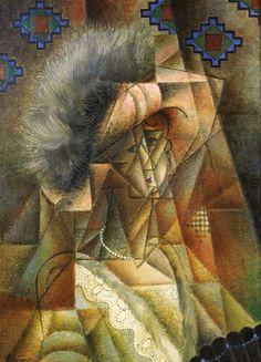Femme au chapeau rose et collier de perles  - Jean Metzinger